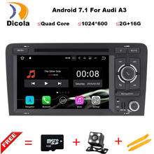 Quad Core Android 7.1 Car DVD CD player GPS Navigation Autoradio Stereo Navi for Audi A3 S3 2002-2011 car Multimedia system(China)
