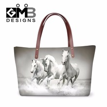 Best ladies messenger bags horse printed cool shoulder bag for women fashionable tote bag for girls school large waterproof bags(China)