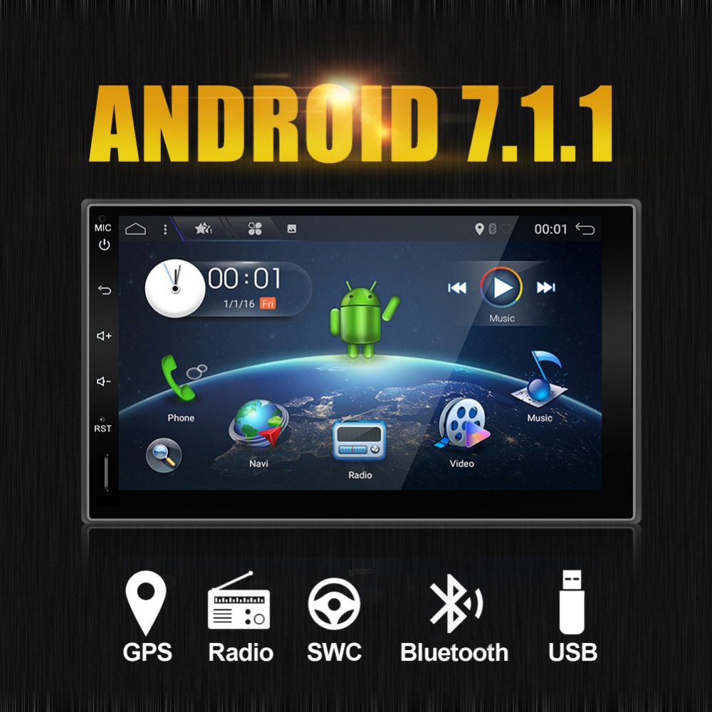 Double 2 Din Capacitive Android 7.1 GPS Nav Car Stereo No-DVD Player Auto Audio PC Car Head Unit TV In Dash Radio Media camera