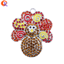 48MM 10pcs/lot Red Swing Paint Rhinestone Pendant Chunky Baby Necklace Thanksgiving Turkey Pendant Amazon Supplier CDRP-503066(China)