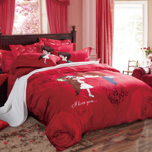 Arnigu Chinese style Rose Flower wedding red Bedding sets Queen King size Bedclothes 100% Cotton Duvet cover bed sheet 4pcs set