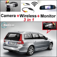 3 in1 Special Wifi Camera + Wireless Receiver + Mirror Monitor Easy DIY Buck Up Parking System For Volvo V70 XC 70 XC70