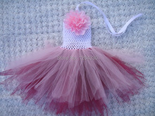 Hot sale flower tutu dress infant baby girls handmade dresses children clothing summer kids princess dress KP-6CTU023