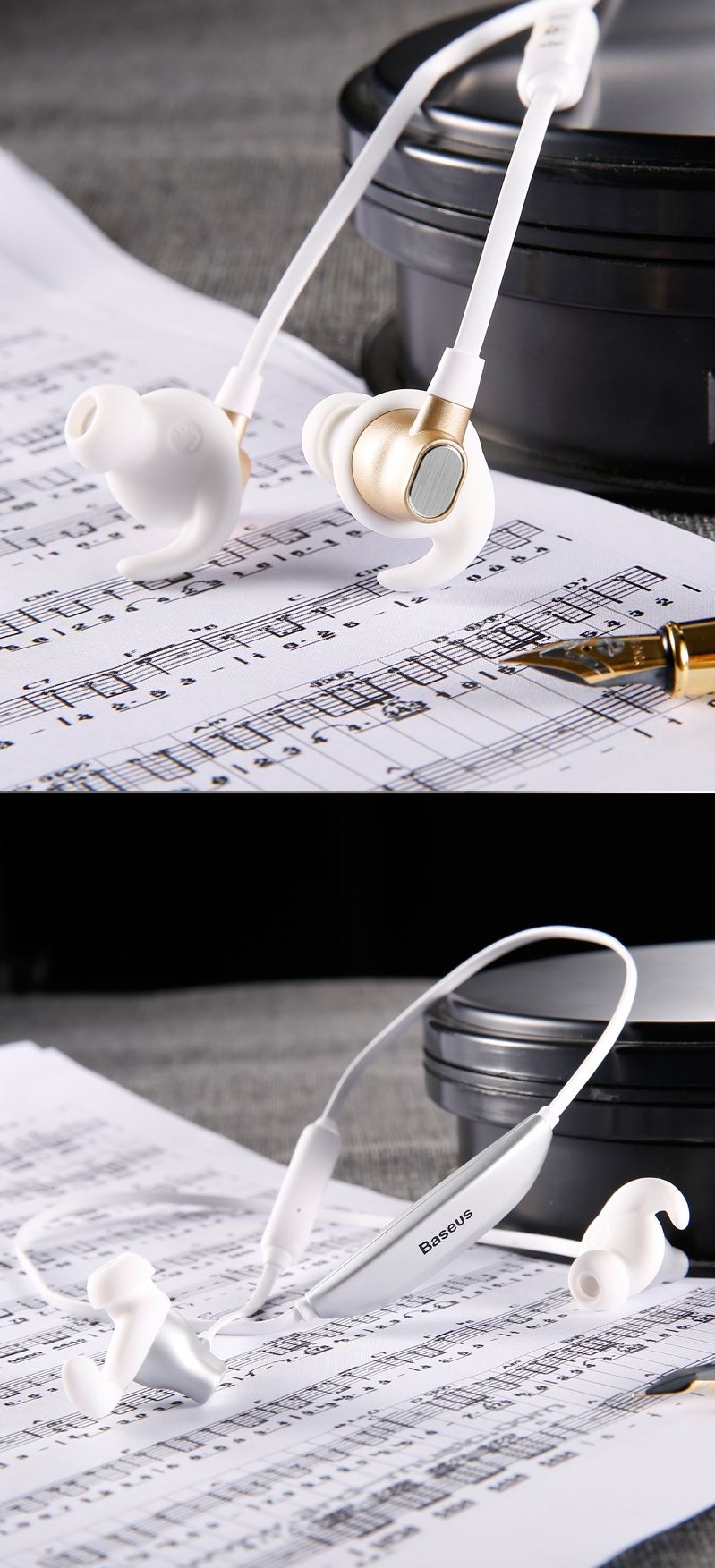 Baseus Encok S03 Wireless Bluetooth V4.1 Magnetic Absorption In Ear Vibrate Waterproof Sports Music Headphone with Mic Running