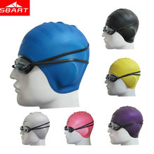 SBART Adults Elastic Waterproof Silicone Swimming Caps for Long Hair Ear Protect Muti Colors Swim Hat Man Women Large Size Hot I(China)