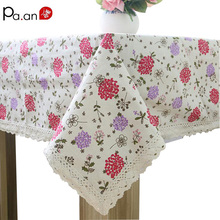 Korean Tablecloth Rectangular Linen Cotton Hyacinth Printed Table Covers for Kitchen Dust Proof Table Cloth Wedding Decoration