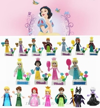 Figurine Legoings Princess Prince Anna Elsa Mermaid Cinderella Rapunzel Belle Snow White Ice Queen Figurines Toys for Children(China)