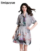 Women vintage print linen dress Boho people high Quality Designer Runway Dress V-neck tunic elegant summer dress vestidos N367