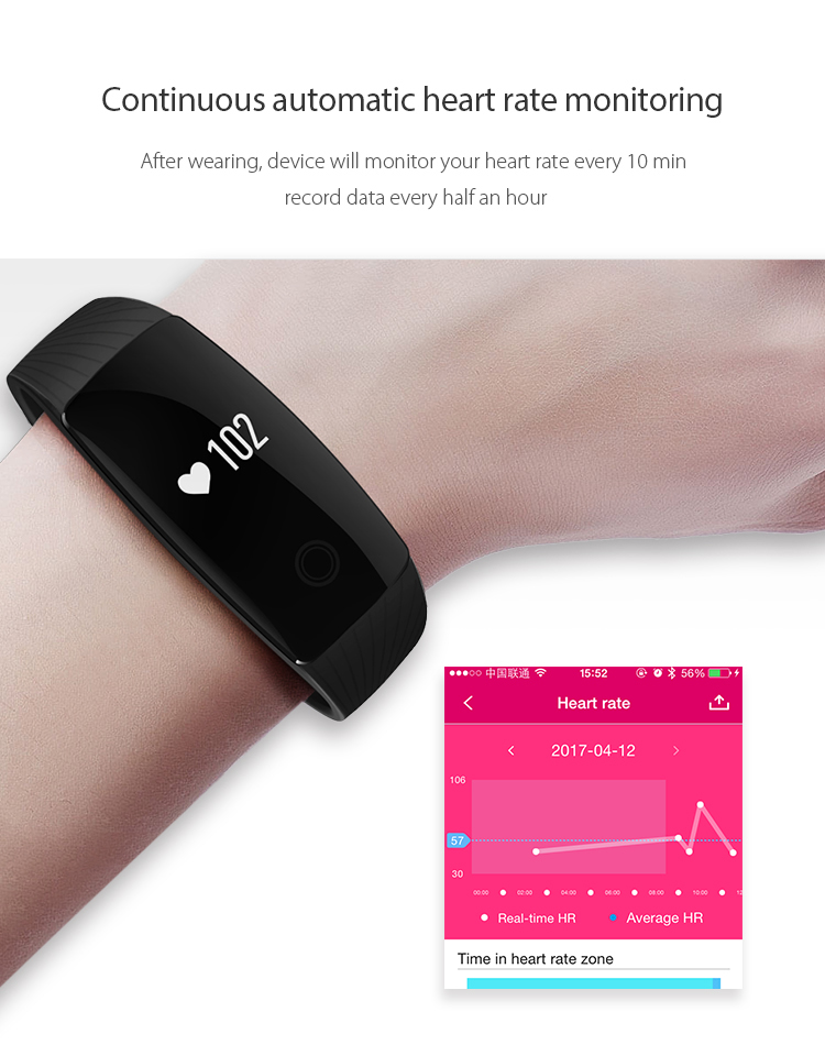 9Tong Bluetooth Wristband Bracelet Fitness Tracker Heart Rate Sleep Monitor Dynamic Pedometer Smartband for IOS Android B0 5