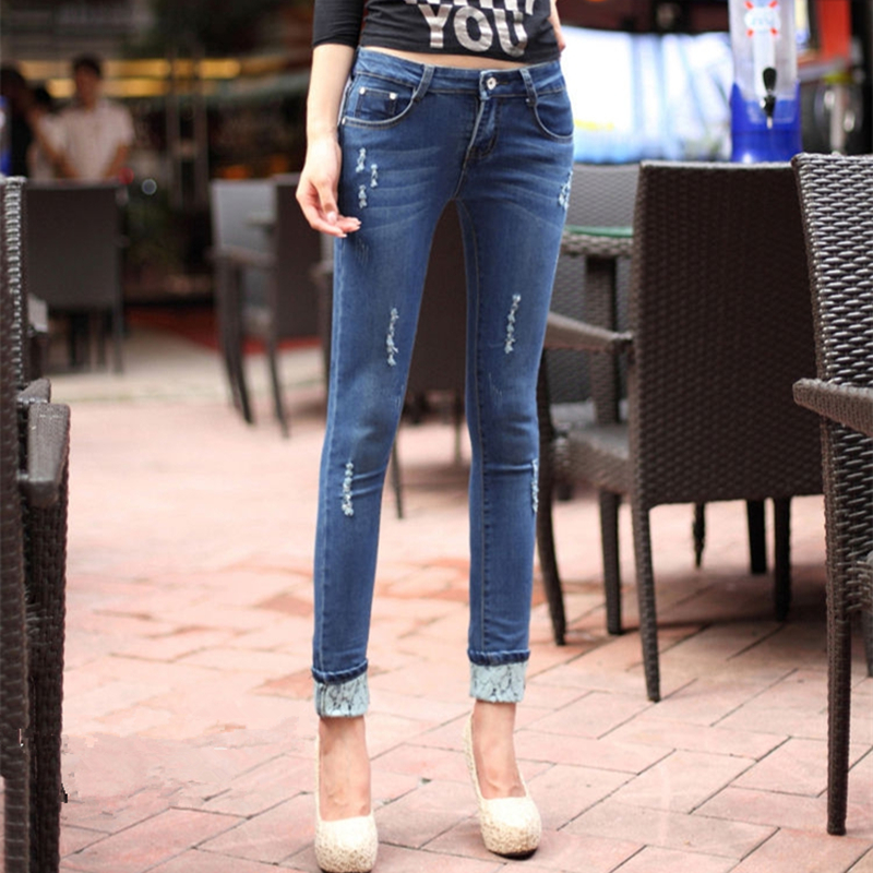 2017 Spring Women Jeans Lace pocket Elasticity Skinny Denim Pencil Pants Hole Fashion Slim Ladies Plus Size Trousers  Одежда и ак�е��уары<br><br><br>Aliexpress