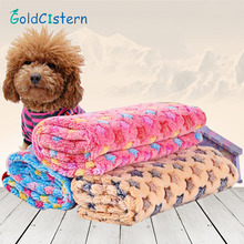 Warm Pet Bed Pet Dog Mat Cover Goods Pets Small Medium Large Towls Paw Handcrafted Print Fleece Soft Puppy Blanket(China)