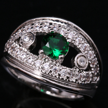 Refreshing Good-Looking Green Cubic zirconia Gems 925 Sterling Silver Jewelrys Solitaire Rings US# Size 6 7 8 9 S1554(China)