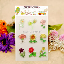 Scrapbook DIY photo cards account rubber stamp clear stamp transparent stamp Flowers Daisy sunflower Rose 11x16cm KW651420(China)