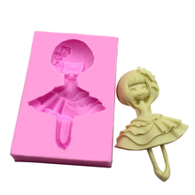 Dancing Lovely Girl Silicone Mold Chocolate Baking Fondant Cake Decorating Tools soap mold cake pop recipe H236(China)