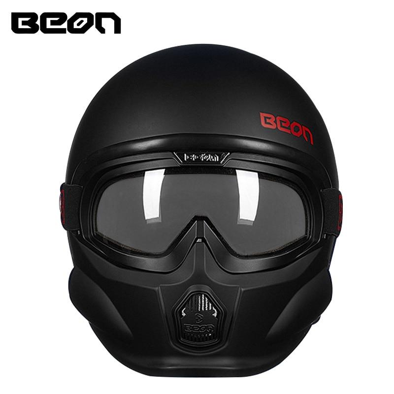 BEON military mask motorcycle helmet 3/4 open face retro moto helmets Casque Casco Motocicleta de capacetes ECE man women helmet