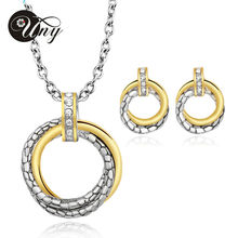UNY Jewelry Spring New Design Rhodium 2 Tone plated Antique Fashion Crystal Unique Jewelry Set Necklace Earring Free Shipping