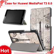 Cover case for Huawei MediaPad T3 8.0 KOB-L09 KOB-W09 for 8'' Tablet PC stand slim case for Honor Play Pad 2 8.0 + free 3 gifts