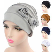 Newest Fashion Women Cotton Flower Hat Cancer Chemo Beanies Baggy Cap Double Flower Beanie Hats Cotton Floral Wrinkle