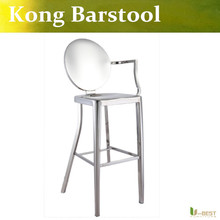 Free shipping U-BEST mirror appearance Kong Bar Stool Chair with left arm stainless steel Replica Kong Stool,restaurant barstool(China)