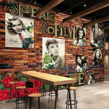 beibehang Large custom wall wallpaper retro nostalgia Europe and the United States beautiful star brick wall TV wall