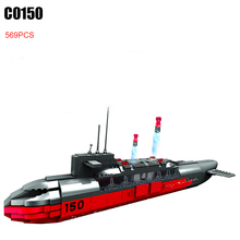 C0150 569pcs Military Warship Strategic Nuclear Submarine Building Block set DIY Educational Bricks Toys for Children Funny Toys(China)