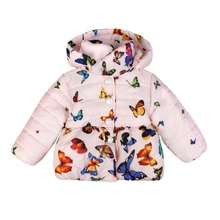 Pink/White Baby Girls Winter Warm Soft Cotton Butterfly Long Sleeves Coat Jackets Y13(China)