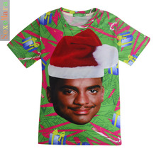 Ebay2015 Autumn And Winter New Pattern Fresh Prince Christmas Happy 3DT Pity Short Sleeve Male Goods In Stock(China)