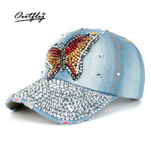 Rhinestones Jean Leisure CAP woman High Quality Cotton snapback Baseball Cap Vintage Female Casual Cap Butterfly Denim hat b139(China)