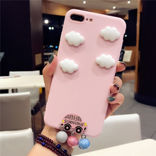 BINYEAE Candy Pink Color Cute Cartoon Case For iPhone 8 7 7 Plus 6 6S Plus White Clouds Bus Pearl Silicon TPU Case For iPhone X(China)