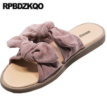 dff746351f64a Slip On Slides Holiday Women Sandals Flat Casual Ladies Bow Pink Slippers  Bowtie Summer Nude Suede Cute Shoes Kawaii Open Toe