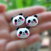 Resin Crafts For DIY Decoratio 10pcs Mixed 22*20mm Very Cute Flat Back Resin Cabochon Panda(China)