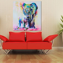 HOT!!Painting Wall Art New HD Spray Canvas Animal Elephant Son Wall Picture Oil Painting For Living Room Home Decor 50*50cm(China)