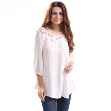 Women Shirts Pure White Chiffon Blouse Crochet Lace V Collar Keyhole Back Loose Flowy 3/4 Lantern Sleeve Office Lady Long Shirt
