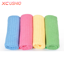 4pcs/lot Microfiber Grid Kitchen Dishcloth Soft Absorbent Cleaning Cloth Multifunctional Household Cleaning Rags(China)