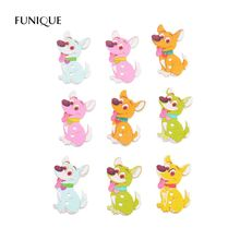 FUNIQUE 50PC Mixed Colorful Cute Dog 2-Hole Wooden Button Decorative Clothes Sewing Button For Children Scrapbooking DIY Crafts