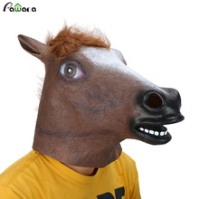 2017 Hot Sale Full Face Halloween Horse Mask Novelty Creepy Head Latex 3 Colors Costume Theater Prop Party Mask Christmas(China)
