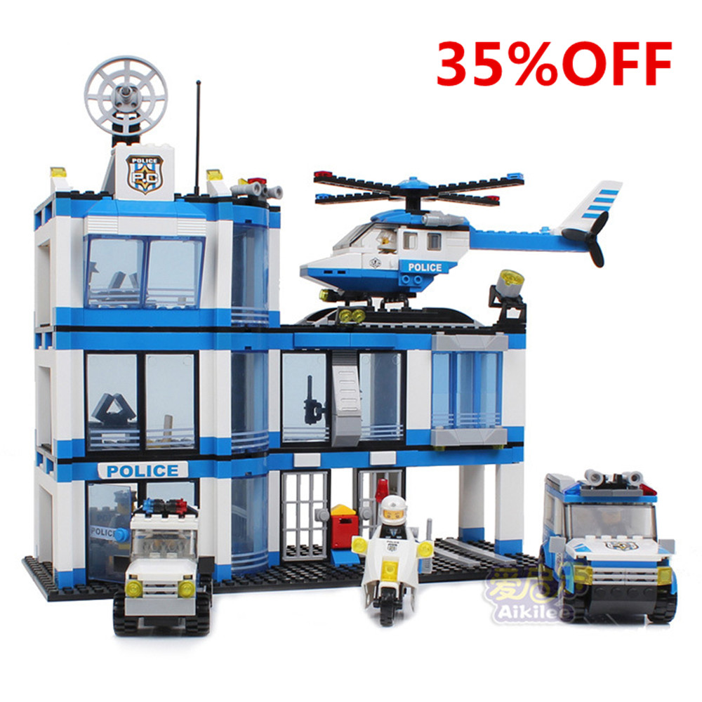 City Police Station Building Blocks 737pcs  Mode DIY Figures Motorcycle  Helicopter Car  Educational  Bricks Toys For Kid 10127Q<br>