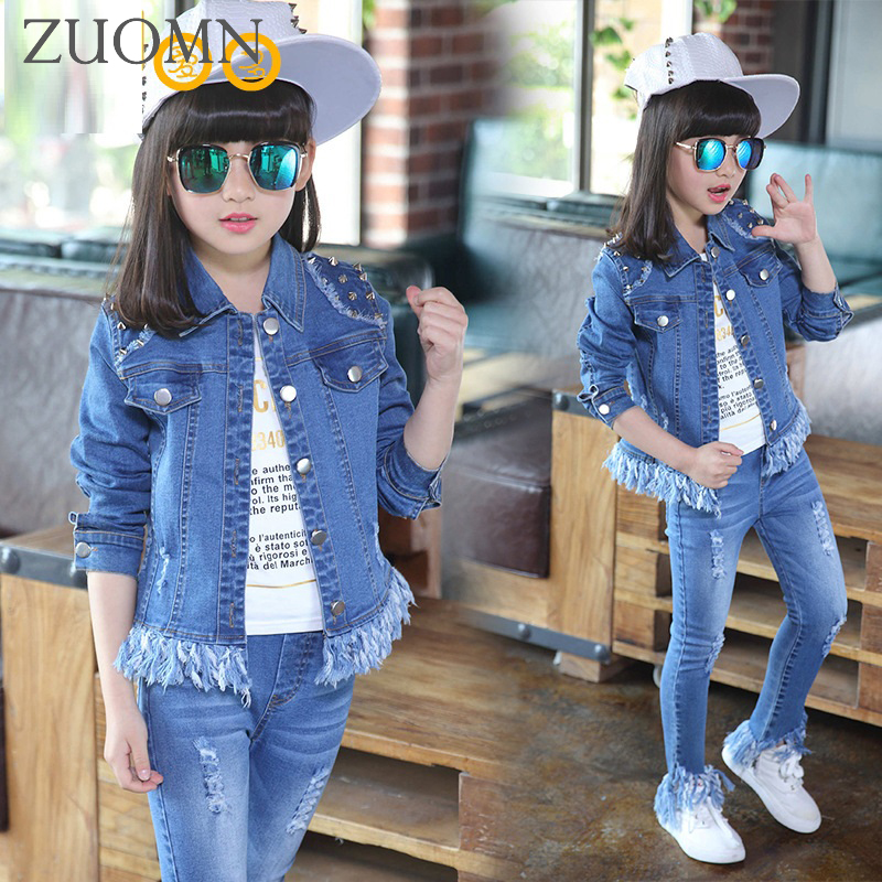 Kids Tracksuit Pants Denim Sport Suit Girls Outfits Children Sports Suit Kids Denim Coat + Jeans 2 pcs Girl Denim Suits YL565<br>