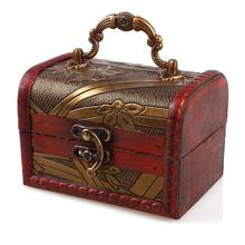 Vintage Red Women Jewelry Small Wood Case Display Stand Jewelry Storage Box Organizer Casket #24127(China)