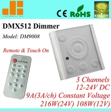 Free Shipping Top Sale 3CH RGB dimmer, DMX Remote control W/ Touch Panel, DMX512 signal LED driver, DM9008