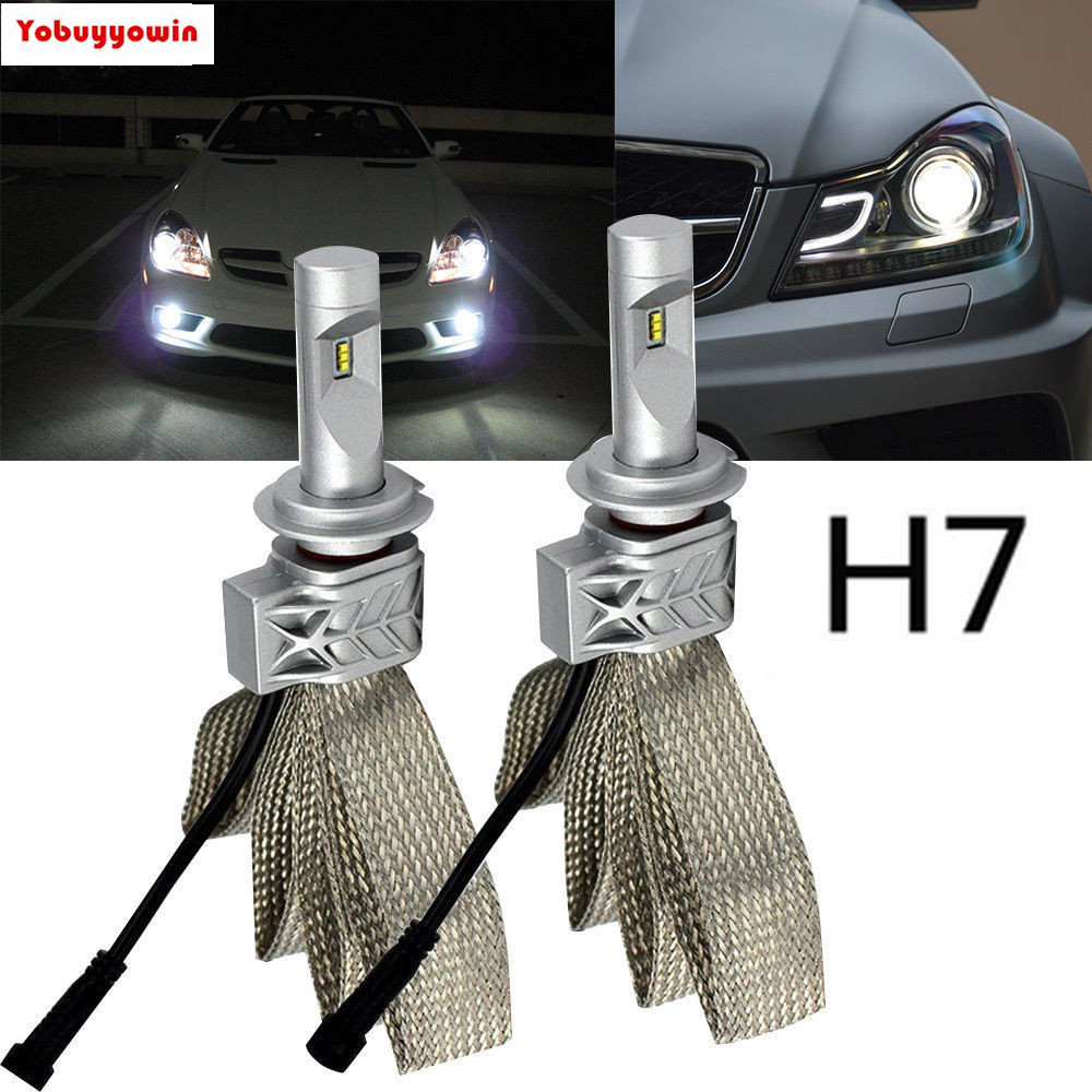 T8 H7 477 8000LM ZES Chip LED Headlight Conversion Kit, Low beam headlamp, Fog DRL Light, HID or Halogen Head light Replacement<br>