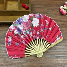 Free shipping with Free Delicate Packaging 23cm Bamboo Cherry Blossom Fabric Chinese Japanese Folding Fans Party Favor Hand Fan