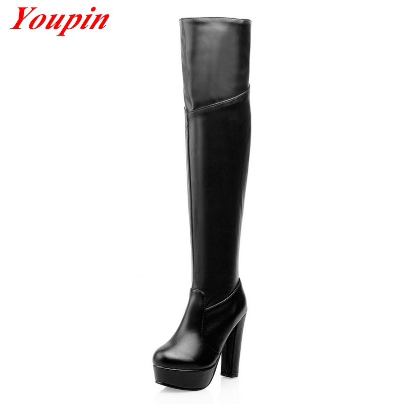 Thick With Knee Boots 2015 latest Large Size High Boots Winter Short Plush Woman Shoe Black Brown Zip Thick With Knee Boots<br><br>Aliexpress