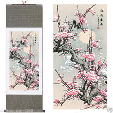 "40""Chinese SuZhou Silk Art Winter Plum Blossom Decoration Scroll Painting S051"