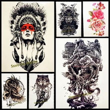 1PC Hot Sale Indian Warrior Waterproof Flash Tattoo Men Body Art Sleeve Arm Tattoo Stickers 21*15CM Large Fake Tatoo Car Styling(China)