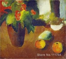modern paintings of women Stilleben mit Begonie apfeln und Birne. by August Macke art Handmade High quality(China)