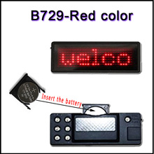 B729-R red color LED panels badg Name card LED display screen Taking on the upper clothes t-shirts led mini sign 7x29pixel(China)