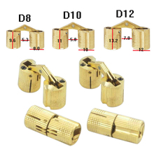 Mayitr 4pcs 8/10/12mm Brass Hidden Barrel Hinge Invisible Hinge Concealed Hinge Cabinet Door Hardware Parts(China)