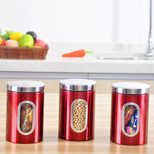 3pcs Stainless Steel Window Canister Tea Coffee Sugar Nuts Jar Storage Red Kitchen Tools