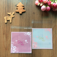50pcs 10*10+3cm OPP Pink Rose style Biscuits Candy cookie snack and Gift Packaging Bags Self Adhesive Seal Soap Baking bag